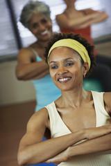 Multi-ethnic women in exercise class