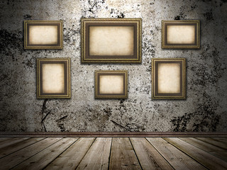 picture frames on a stone grange background