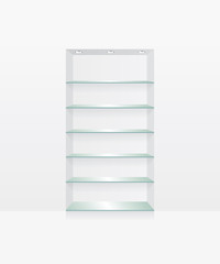 Empty glass shelves on white wall