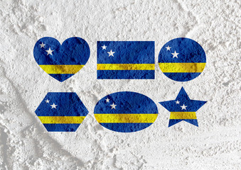Curacao flag themes idea design on wall texture background