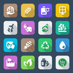 flat icons ecology set2 colorful