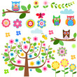 Cartoon set - owls, flowers