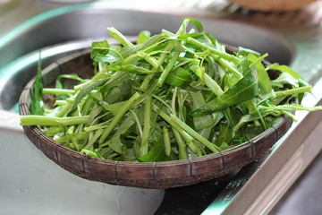 water spinach swamp cabbage kangkong in the basket