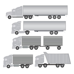 commercial truck and trailer icons