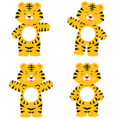 cute tiger character in 4 acting set