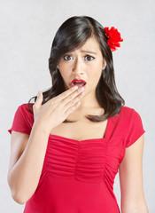 Shocked Hispanic Woman