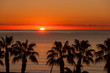 canvas print picture - Sunset at Malaga beach
