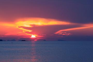 Dramatic panoramic pastel  sunset background