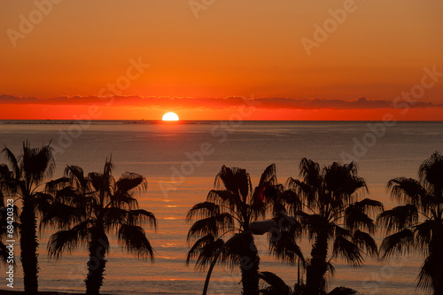 canvas print picture Sunset at Malaga beach