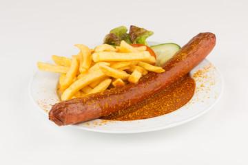 Riesencurrywurst mit Pommes