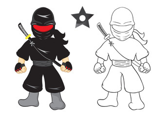 Illustration of ninja cartoon vector on white background