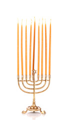 Hanukkah menorah with candles isolated on white