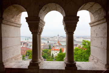 View of Parliament and Danube from the Fishing bastion, Budapest