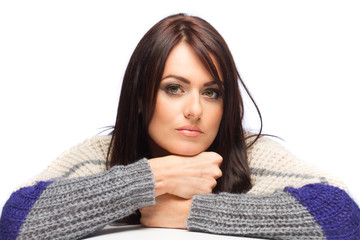 woman portrait, she wearing knitted pullover - isolated