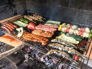 miixed grilled food on barbecue