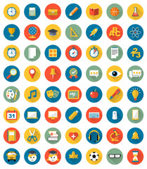 School icons flat design vector set