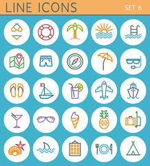 Travel line icons set. Vector web design elements