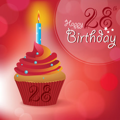 Happy 28th Birthday message -Bokeh Vector -cupcake & candle