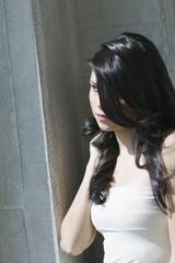 Hispanic woman with long hair
