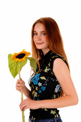 Pretty girl with sunflower.