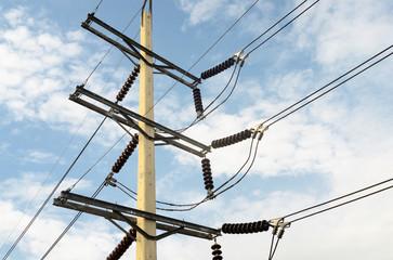 Power transmission lines (69 kV System) against blue sky