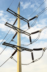 Power transmission lines (69 kV System) against blue sky