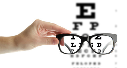Reading eyeglasses in hand and eye chart