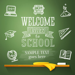 Welcome back to school message on chalkboard with place for your
