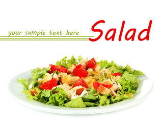 Caesar salad on plate, isolated on white