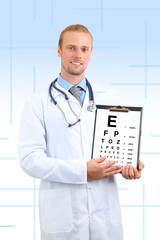 Healthcare, medicine and vision concept - male ophthalmologist