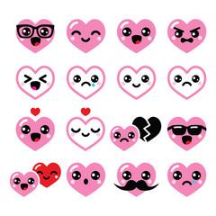 Kawaii hearts, Valentine's Day cute vector icons set