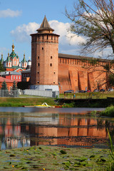 The powerful walls of the Kremlin. Kolomna. Russia