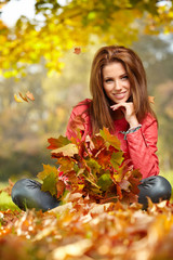 Fall woman- Autumn portrait of happy lovely and beautiful  young