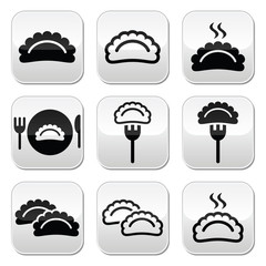 Dumplings, food vector buttons set