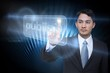 Businessman pointing to word publish