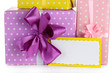 Gift boxes with blank label close up