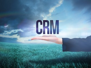 Businesswomans hand presenting the word crm
