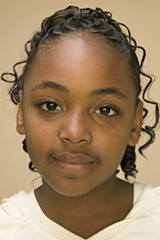 Close up of African American girl's face