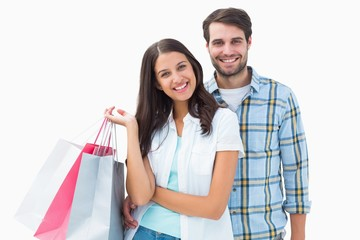 Attractive young couple with shopping bags