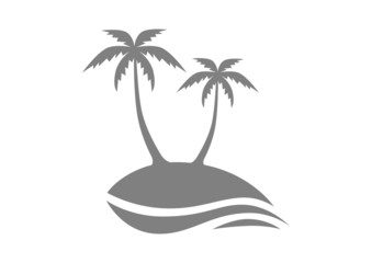 Grey island with palm trees on white background