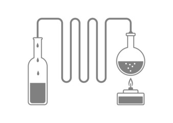 Grey distillation kit on white background