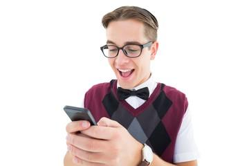 Geeky hipster sending a text