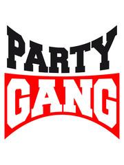 Party Gang Text Logo Design