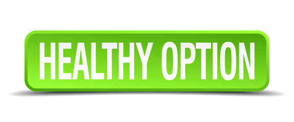 healthy option green 3d realistic square isolated button