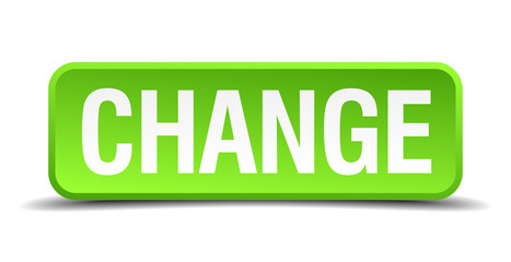 change green 3d realistic square isolated button