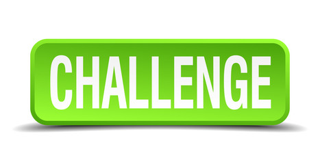 challenge green 3d realistic square isolated button