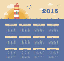 Marine calendar 2015 year with lighthouse