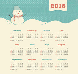 Calendar 2015 year with snowman