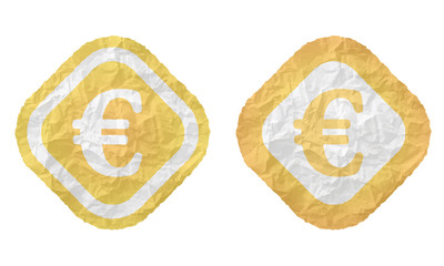 two frames with texture crumpled paper and euro symbol