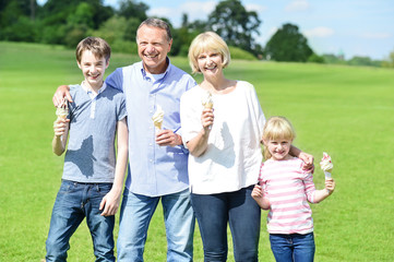 Cheerful family holding yummy ice cream cones
